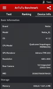 ����� Nokia XL - ���� AnTuTu Benchmark 4.4