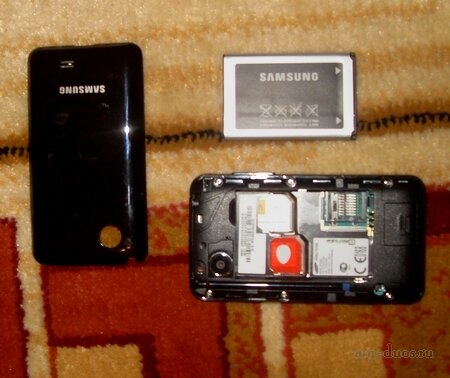 Расположение слотов для сим-карт в Samsung C3332